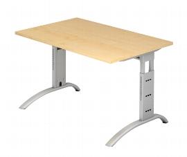 Hammerbacher Schreibtisch Serie FS12 Arbeitshöhe 65-85cm (BxT) 120 x 80cm Ahorn/Silber
