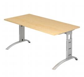 Hammerbacher Schreibtisch Serie FS16 Arbeitshöhe 65-85cm (BxT) 160 x 80cm Ahorn/Silber