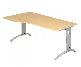 Hammerbacher Schreibtisch Serie FS18 Freiform Arbeitshöhe 65-85cm (BxT) 180 x 100cm Ahorn/Silber