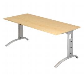Hammerbacher Schreibtisch Serie FS19 Arbeitshöhe 65-85cm (BxT) 180 x 80cm Ahorn/Silber