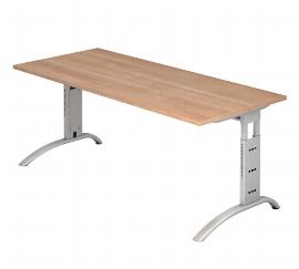 Hammerbacher Schreibtisch Serie FS19 Arbeitshöhe 65-85cm (BxT) 180 x 80cm Nussbaum/Silber 0-311-fs19_n