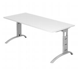 Hammerbacher Schreibtisch Serie FS19 Arbeitshöhe 65-85cm (BxT) 180 x 80cm Weiß/Silber 0-311-fs19_w