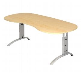 Hammerbacher Schreibtisch Serie FS20 Nierenform Arbeitshöhe 65-85cm (BxT) 200 x 100cm Ahorn/Silber