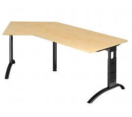 Hammerbacher Schreibtisch Serie FS21/D Winkelform 135° Arbeitshöhe 65-85cm (BxT) 210 x 113cm Ahorn/Schwarz