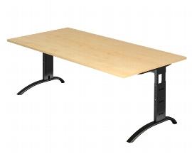 Hammerbacher Schreibtisch Serie FS2E/D Arbeitshöhe 65-85cm (BxT) 200 x 100cm Ahorn/Schwarz
