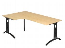 Hammerbacher Schreibtisch Serie FS82/D Winkelform 90° Arbeitshöhe 65-85cm (BxT) 200 x 120cm Ahorn/Schwarz