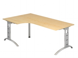 Hammerbacher Schreibtisch Serie FS82 Winkelform 90° Arbeitshöhe 65-85cm (BxT) 200 x 120cm Ahorn/Silber