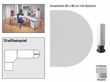 Hammerbacher Ansatztisch HA60 mit Stützfuß (BXT) 60x80cm Ahorn/Silber