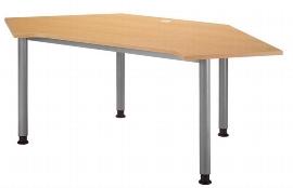 Hammerbacher Callcenter Tisch HC19 Arbeitshöhe 68-76cm einstellbar Buche/Silber