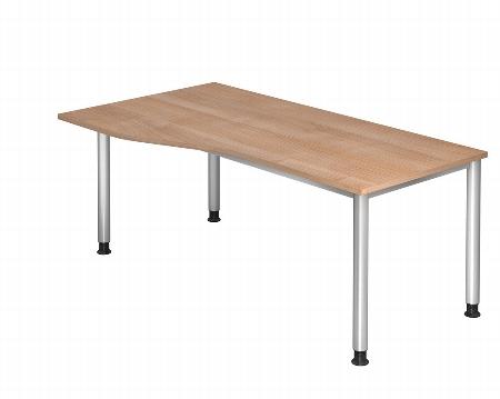 Hammerbacher Schreibtisch Serie HS18 Freiform Arbeitshöhe 68-76cm (BxT) 180 x 100cm Ahorn/Silber