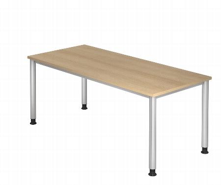 Hammerbacher Schreibtisch Serie HS16 Arbeitshöhe 68-76cm (BxT) 160 x 80cm Ahorn/Silber