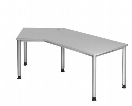 Hammerbacher Schreibtisch Serie HS21 Winkelform 135° Arbeitshöhe 68-76cm (BxT) 210 x 113cm Ahorn/Silber