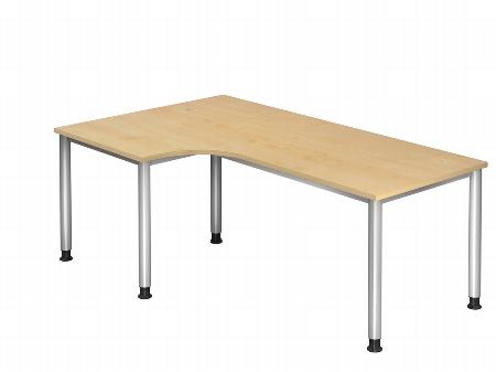 Hammerbacher Schreibtisch Serie HS82 Winkelform 90° Arbeitshöhe 68-76cm (BxT) 200 x 120cm Ahorn/Silber