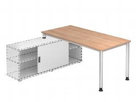 Hammerbacher Auflage-Schreibtisch HSE19 Serie H mit 4-Fuß Gestell (BxT) 180x80cm zur Auflage auf Sideboard 1758S Ahorn/Silber