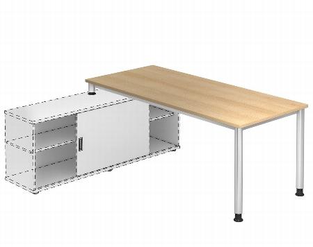 Hammerbacher Auflage-Schreibtisch HSE16 Serie H mit 4-Fuß Gestell (BxT) 160x80cm zur Auflage auf Sideboard 1758S Ahorn/Silber