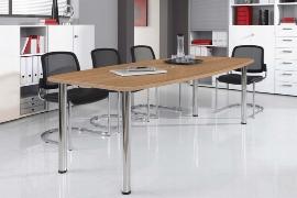 Hammerbacher Konferenztisch Serie KT28C mit Tischbeinen verchromt (BxTxH) 280x130/85x72-74cm Tischplatte Nussbaum