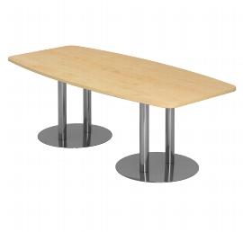 Hammerbacher Konferenztisch Serie KT28S mit Säulenfuß verchromt (BxTxH) 280x130/85x74,5cm Tischplatte Ahorn