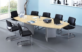 Hammerbacher Konferenztisch Serie KT28H mit Holzuntergestell Silber (BxTxH) 280x130/85x74,5cm Tischplatte Ahorn