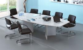 Hammerbacher Konferenztisch Serie KT28H mit Holzuntergestell Silber (BxTxH) 280x130/85x74,5cm Tischplatte Grau
