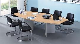 Hammerbacher Konferenztisch Serie KT28H mit Holzuntergestell Silber (BxTxH) 280x130/85x74,5cm Tischplatte Buche