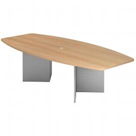 Hammerbacher Konferenztisch Serie KT28H mit Holzuntergestell Silber (BxTxH) 280x130/85x74,5cm Tischplatte Eiche