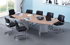 Hammerbacher Konferenztisch Serie KT28H mit Holzuntergestell Silber (BxTxH) 280x130/85x74,5cm Tischplatte Nussbaum