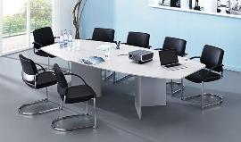 Hammerbacher Konferenztisch Serie KT28H mit Holzuntergestell Silber (BxTxH) 280x130/85x74,5cm Tischplatte Weiß
