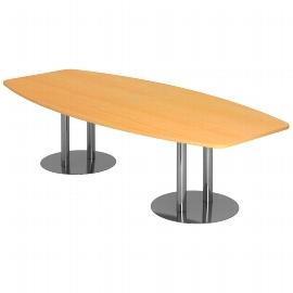 Hammerbacher Konferenztisch Serie KT22S mit Säulenfuß verchromt (BxTxH) 220x103/83x74,5cm Tischplatte Weiß