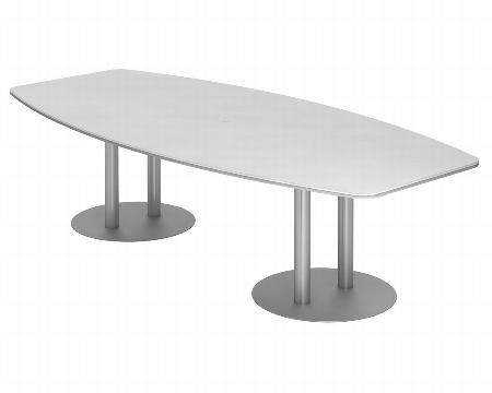 Hammerbacher Konferenztisch Serie KT22S mit Säulenfuß Silber (BxTxH) 220x103/83x74,5cm Tischplatte Eiche