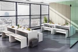 Hammerbacher Filzauflagen MBPO für Bistrobank 4er-Set Grau