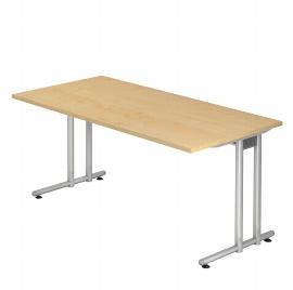 Hammerbacher Schreibtisch Serie NS16 (BxT) 160x80cm inkl. Kabelwanne Ahorn/Silber