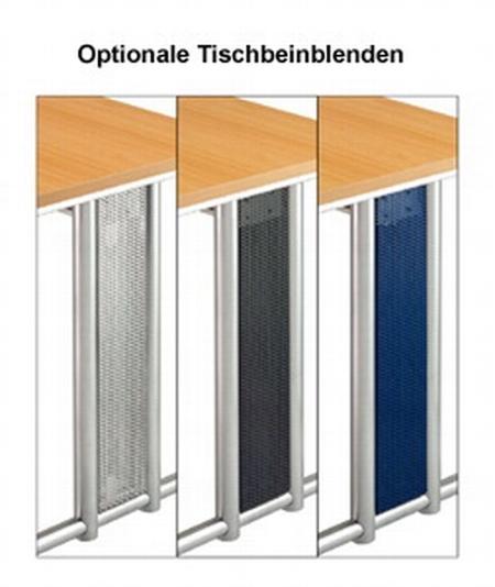 Hammerbacher Schreibtisch Serie NS20 Nierenform (BxT) 200x100cm inkl. Kabelwanne Ahorn/Silber