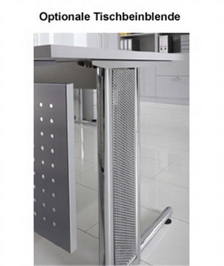 Hammerbacher Schreibtisch Serie NS21 Winkelform 135° (BxT) 210x113cm inkl. Kabelwanne Ahorn/Silber