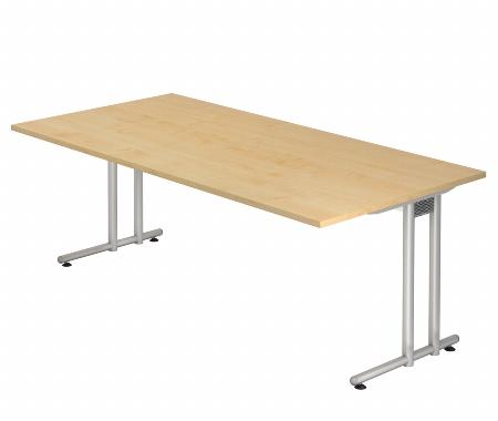 Hammerbacher Schreibtisch Serie NS2E (BxT) 200 x 100cm inkl. Kabelwanne Ahorn/Silber