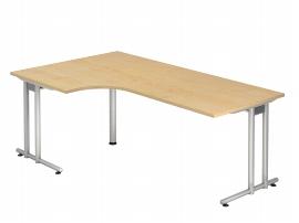 Hammerbacher Schreibtisch Serie NS82 Winkelform 90° (BxT) 200x120cm inkl. Kabelwanne Ahorn/Silber