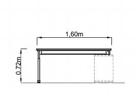 Hammerbacher Auflage-Schreibtisch Serie NSE16 mit T-Fuß (BxT) 160x80cm zur Auflage auf Sideboard 1758S Ahorn/Silber
