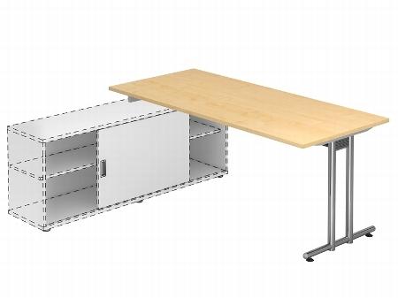 Hammerbacher Auflage-Schreibtisch Serie NSE19 mit T-Fuß (BxT) 180x80cm zur Auflage auf Sideboard 1758S Ahorn/Silber