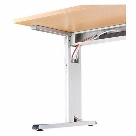 Hammerbacher Schreibtisch Serie OS08 Arbeitshöhe 65-85cm (BxT) 80x80cm Ahorn/Sllber