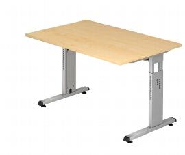 Hammerbacher Schreibtisch Serie OS12 Arbeitshöhe 65-85cm (BxT) 120x80cm Ahorn/Silber