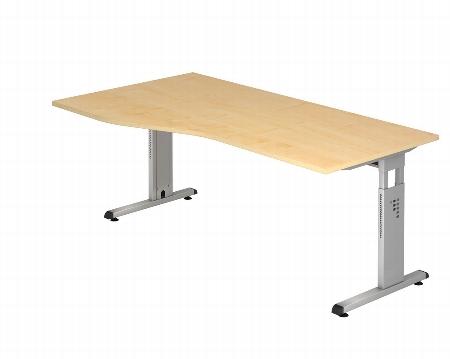 Hammerbacher Schreibtisch Serie OS18 Freiform Arbeitshöhe 65-85cm (BxT) 180x80/100cm Ahorn/Silber