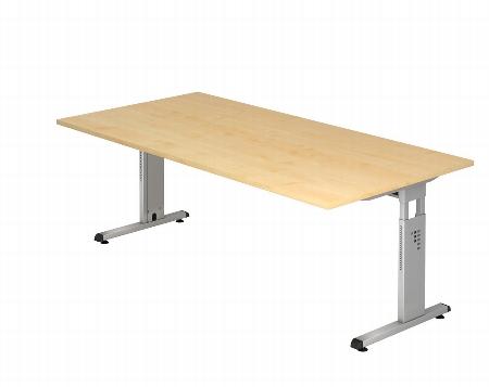 Hammerbacher Schreibtisch Serie OS2E Arbeitshöhe 65-85 cm (BxT) 200 x 100cm inkl. Kabelwanne Ahorn/Silber