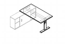 Hammerbacher Auflageschreibtisch Serie OSE16 mit T-Fuß (BxT) 160x80cm zur Auflage auf Sideboard 1758S Ahorn/Silber