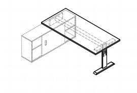 Hammerbacher Auflageschreibtisch Serie OSE19 mit T-Fuß (BxT) 180x80cm zur Auflage auf Sideboard 1758S Ahorn/Silber