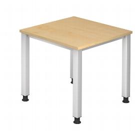 Hammerbacher Schreibtisch Serie QS08 (BxT) 80x80cm Arbeitshöhe 68,5-83,5cm Ahorn/Silber