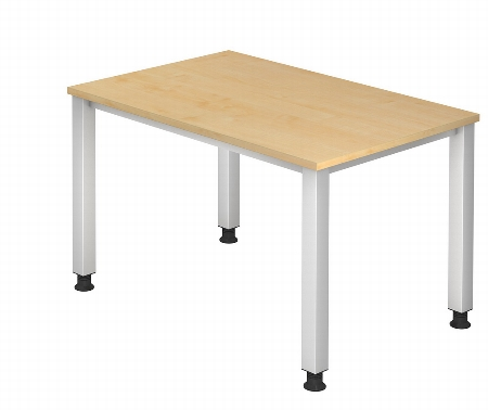 Hammerbacher Schreibtisch Serie QS12 (BxT) 120x80cm Arbeitshöhe 68,5 - 83,5cm Ahorn/Silber