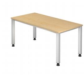 Hammerbacher Schreibtisch Serie QS16 (BxT) 160x80cm Arbeitshöhe 68,5 - 83,5cm Ahorn/Silber