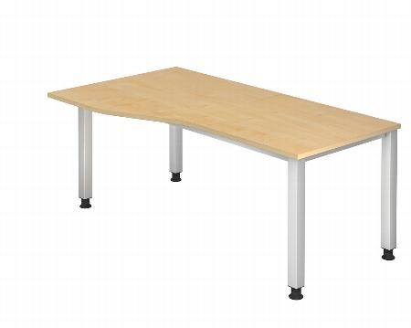 Hammerbacher Schreibtisch Serie QS18 Freiformtisch (BxT) 180x80/100cm Arbeitshöhe 68,5-83,5cm Ahorn/Silber