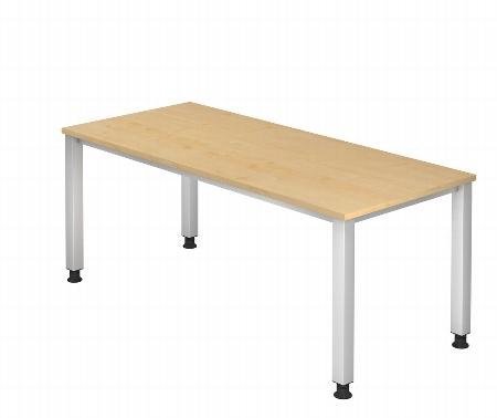 Hammerbacher Schreibtisch Serie QS19 (BxT) 180x80cm Arbeitshöhe 68,5-83,5cm Ahorn/Silber