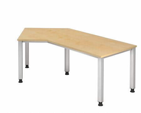 Hammerbacher Schreibtisch Serie QS21 Winkelform 135° (BxT) 210x113cm Arbeitshöhe 68,5-83,5cm Ahorn/Silber