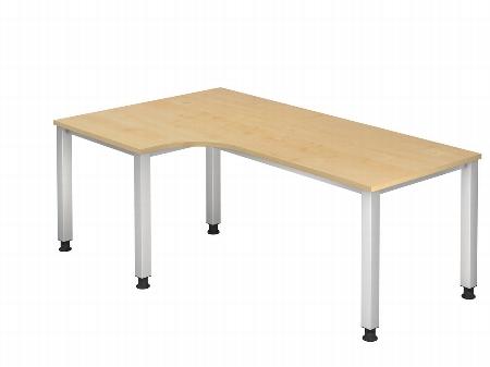 Hammerbacher Schreibtisch Serie QS82 Winkelform 90° (BxT) 200x120cm Arbeitshöhe 68,5-83,5cm Ahorn/Silber